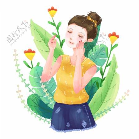 手绘卡通可爱女孩面膜面部保养健康
