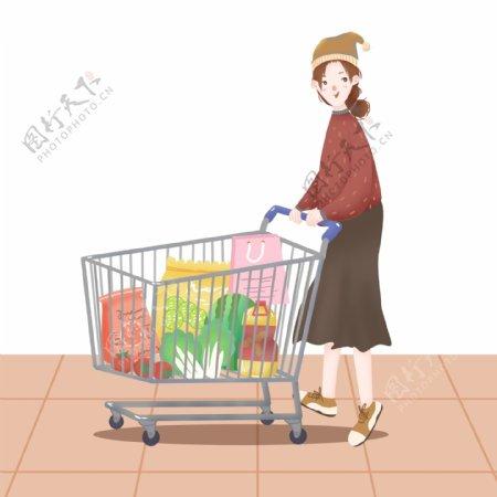 手绘风格超市购物推购物车的女孩