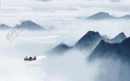 新中式抽象水墨山水风景背景墙