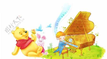小熊维尼小猪弹钢琴的小孩