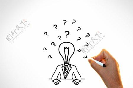 怀疑和想法概念与问号的商人