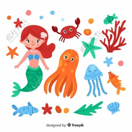 可爱美人鱼和海洋动物