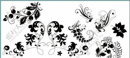鲜花花纹藤蔓线条花纹