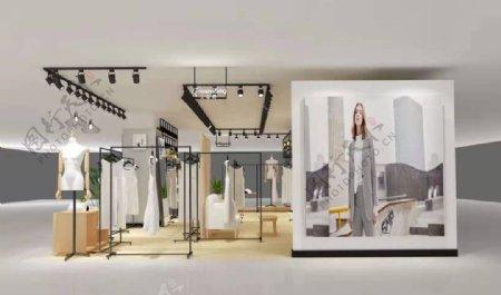 戈蔓婷女装店铺3D设计效果图