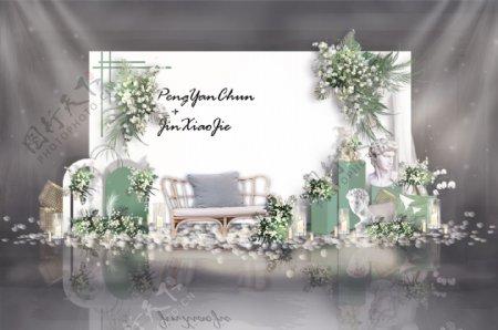 纯白森系白绿婚礼迎宾区