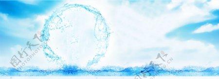 蓝色水浪水花水圈