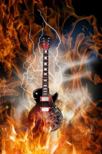 吉他火焰背景