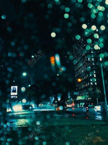 夜晚城市街道公路梦幻背景素材