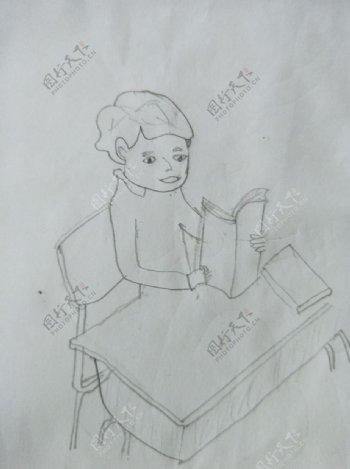 读书郎简单素描儿童画