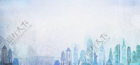 城市蓝色雾气梦幻背景素材