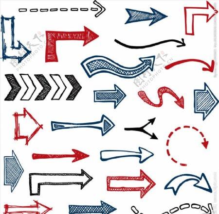 手绘箭头设计矢量素材