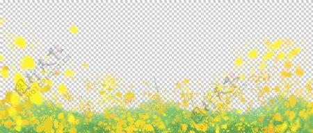 油菜花底纹边框夏季素材