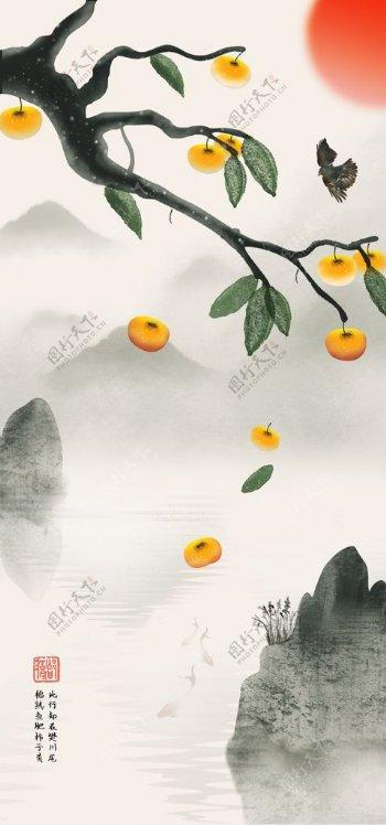 水墨中国画柿子