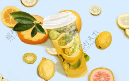 水果茶饮料饮品清新插画背景素材