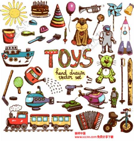手绘儿童玩具矢量素材