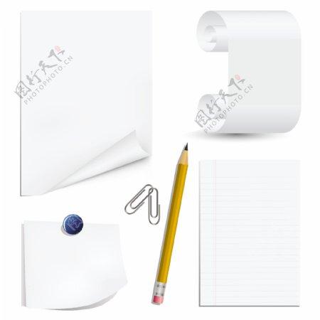 白纸回形针铅笔