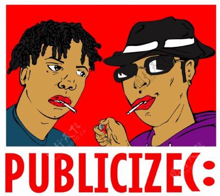 卡通漫画手绘潮图2个人