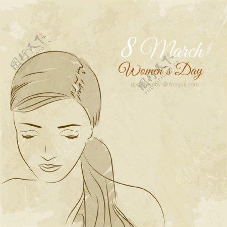 手工绘制女人脸妇女节