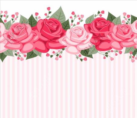 条纹壁纸玫瑰