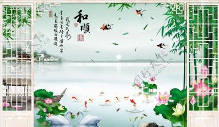 山水画竹子背景墙