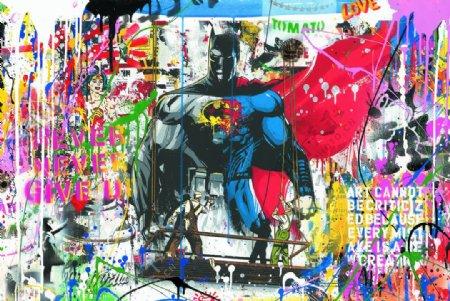 街头涂鸦手绘超人装饰画