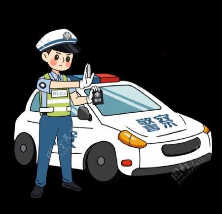 交警警察执勤出示警政插画图片