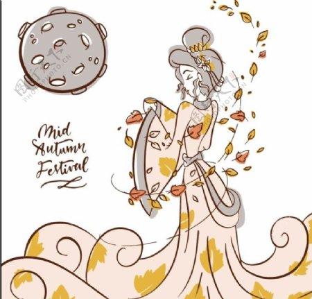 浪漫手绘中秋节嫦娥图片