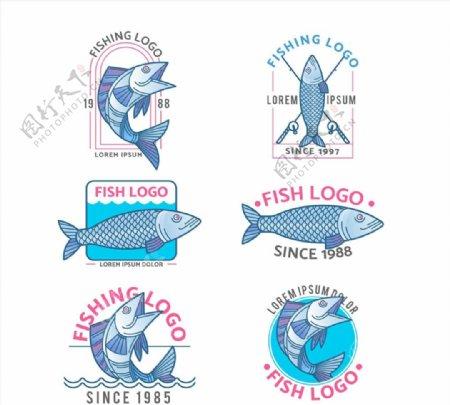手绘鱼类标志图片