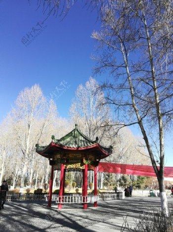 古典亭子树木风景图片