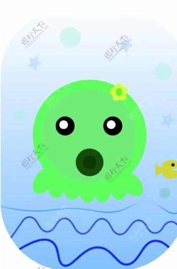 八爪鱼可爱章鱼矢量图图片