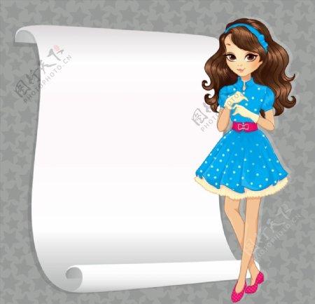 女孩装饰空白纸张图片