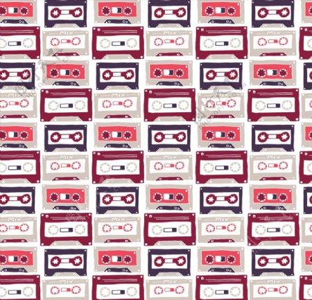 复古磁带无缝背景图片