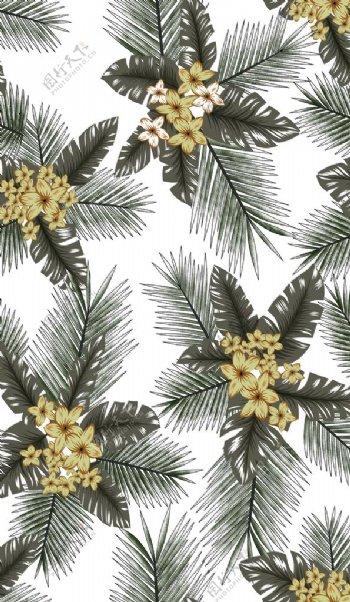 爆版热带植物花卉印花图片