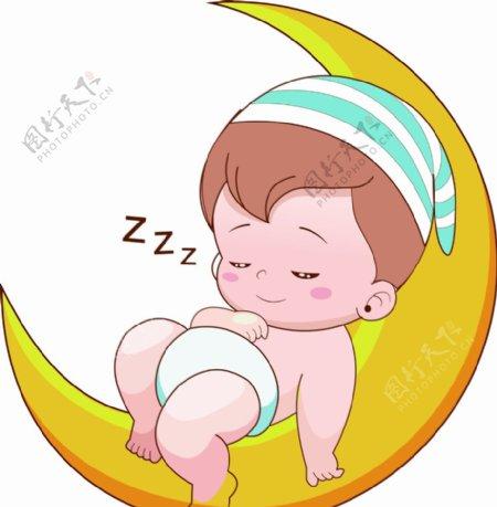 在月亮上睡觉的小男孩图片
