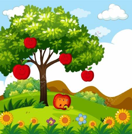 苹果树矢量图图片