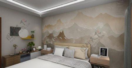 新中式山水背景墙效果图图片