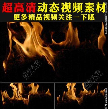 熊熊火焰燃烧火苗动态视频素材