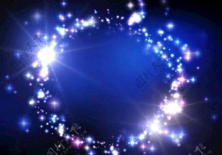 蓝色星光闪光图片