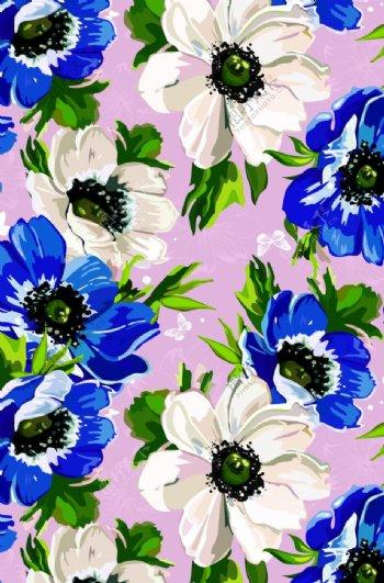 手绘花卉小蝴蝶图片