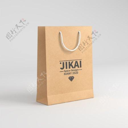 竖版牛皮纸购物袋手提袋样机图片