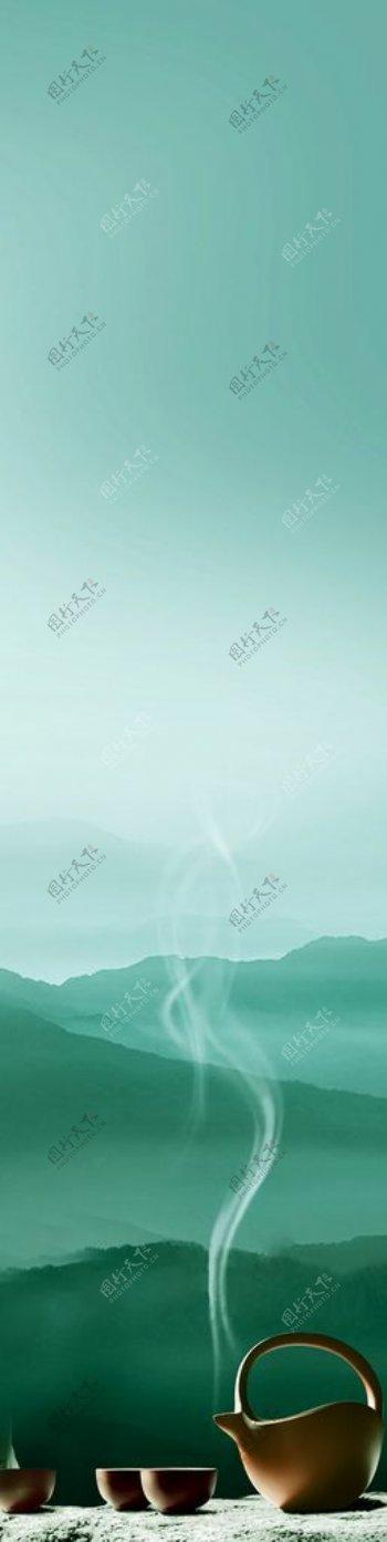 茶禅意炉子远山境界图片