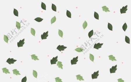 手绘树叶平铺图案图片