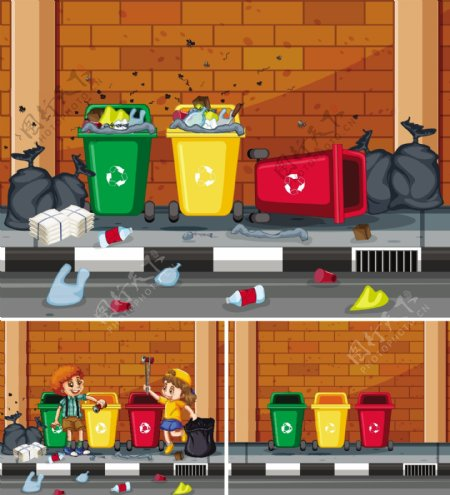 卡通垃圾桶图片