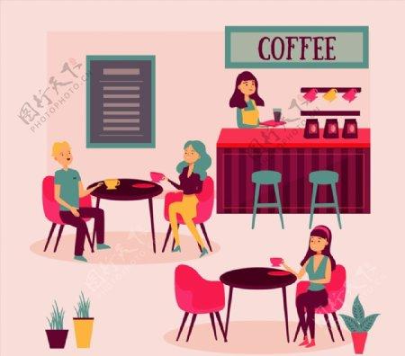 咖啡馆人物图片