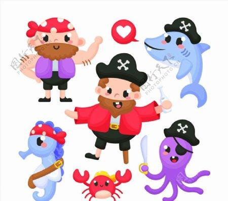 卡通海盗和海洋动物图片