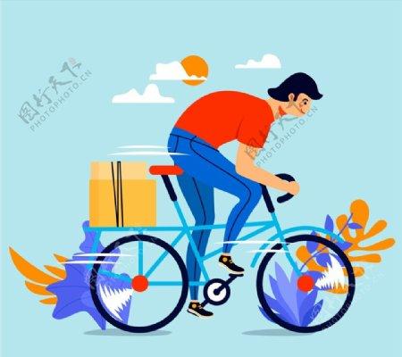 骑单车送货男子图片