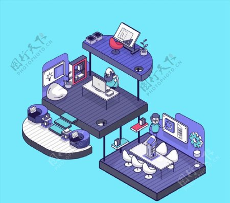立体办公室设计图片
