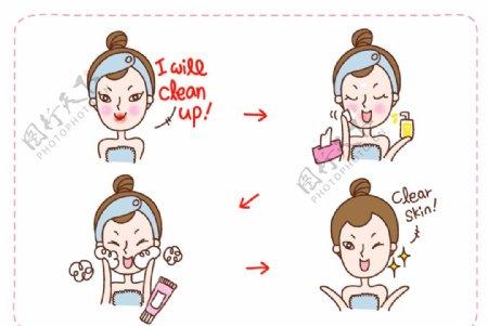 脸部清洁插画图片