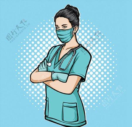 手持空白纸张的医生图片