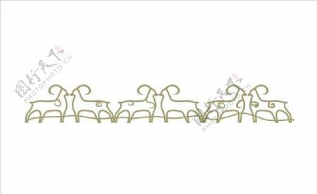 激光切割铁艺羊造型围栏片图片